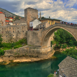 Mostar by Branislav Rupar - Buildings & Architecture Bridges & Suspended Structures ( hdr, arch, tourism, antiquities, stone cross, bridge, nikon, city )