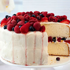 Orange Layer Cake with Buttercream Frosting and Berries