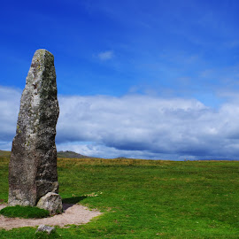 Standing Sone on Dartmoor by Gareth Dickin - Nature Up Close Rock & Stone ( hill, sky, blue, grass, green, cloud, stone, rural )