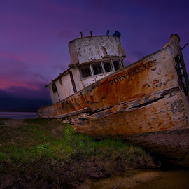 Point Reyes by Dustin Penman - Transportation Boats ( point, sand, dustin, reyes, ship, sunset, wreck, boat, penman, bar )