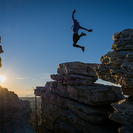 Up in the Air by Jimmy Jin - People Street & Candids ( mountains, sunset, outdoors, landscape, hiking, jump,  )
