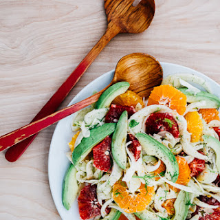 Blood Orange, Avocado, and Shaved Fennel Salad with Saffron Lemon Dressing