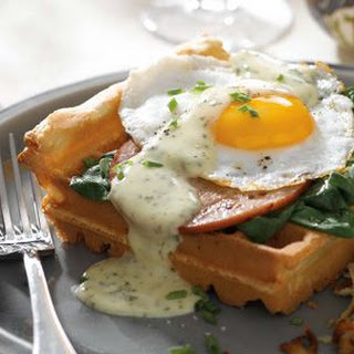 Eggs Florentine with Savory Waffles and Herbed Hollandaise