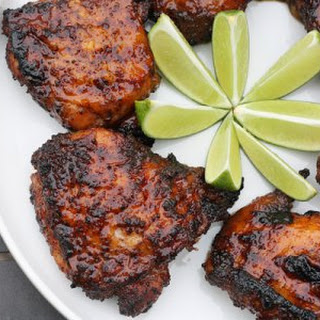 Ancho Chili and Tequila Glazed BBQ Chicken Thighs