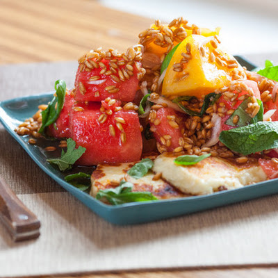 Tomato, Watermelon & Spelt Salad with Seared Halloumi