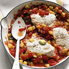 Halibut with Spicy Squash and Tomatoes