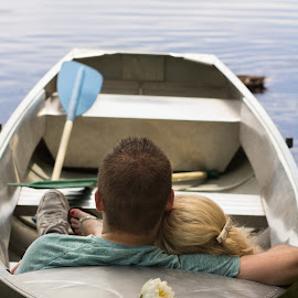 Rowboat Engagement by Kate Gansneder - People Couples ( rowboat, boat, row, washington, waterlily, lily, uw, seattle, uwarboretum, engaged, couple, arboretum, engagement )