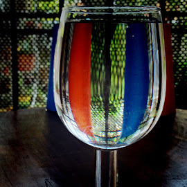 Glass Art by Janette Ho - Artistic Objects Glass ( blue, orange. color )