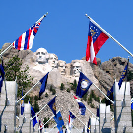 Mount Rushmore by Kaye Petersen - Buildings & Architecture Statues & Monuments ( mountains, flags, sky, south dakota, mt. rushmore )