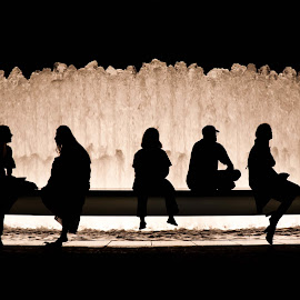Communication / Isolation by Xavier Barceló Pinya - People Street & Candids ( isolation, communication, silhouette, fountain, people, talk )