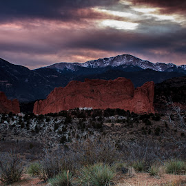 Garden of the Gods by Pj Berens - Landscapes Mountains & Hills ( mountains, pike's peak, dusk, rocks, garden of the gods )