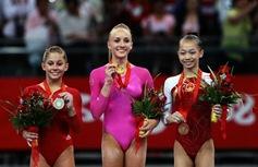 Nastia Liukin  Shawn Johnson Yang Yilin Beijing Olympics Gold Medals Podium
