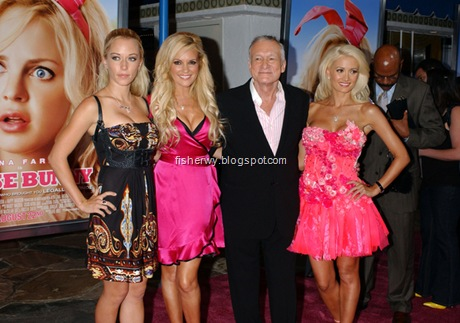 Hugh Hefner and his three sluts arrive at the premiere of the movie, THE HOUSE BUNNY  in  Westwood,  Ca. at the Village Theater  on August 20, 2008.