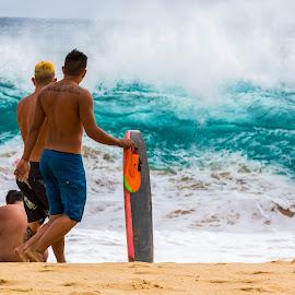 Should We Go? by Jason Rose - Sports & Fitness Surfing ( sandy beach, body surfing, body boarding, big wave, oahu, hawaii )