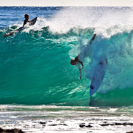 Over the Falls at Snapper Rocks by M S - Sports & Fitness Surfing ( wipe out surfing gold coast )