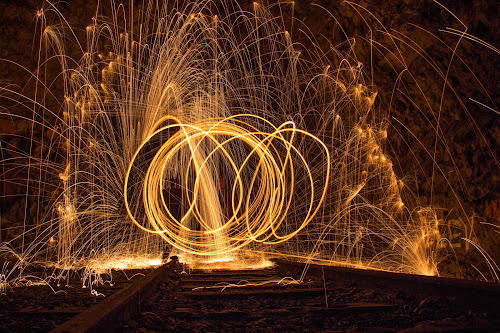 WoW by Julija Moroza Broberg - Abstract Fire & Fireworks ( excitement, urban exploration, train tracks, person, firework, artwork, circles, wow, adventure, steel wool, crazy, lifestyle, action, friendship, rings, artistic objects, darkness, wool, nightlife, live, scary, cool, creepy, art, steelwool, excited, steel, old building, fire, urban, night, gang, tunnel, abandoned )