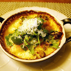 Gratin of Yukon Gold Potatoes, Bacon and Arugula