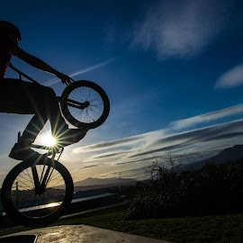The Launch by Gary Piazza - Sports & Fitness Cycling ( bikes, sunset, bmx,  )