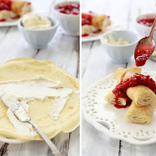 Dessert Crepes with Ricotta Cream and Raspberries