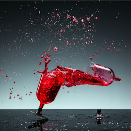 by Todor Lichev - Abstract Water Drops & Splashes ( wine, red, splash photography, glass )