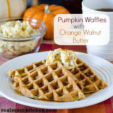Pumpkin Waffles with Orange Walnut Butter