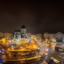 Braila at night by Dragos Petrescu - City,  Street & Park  Street Scenes ( noapte, calarasilor, lumini, catedrala, braila, bariera )