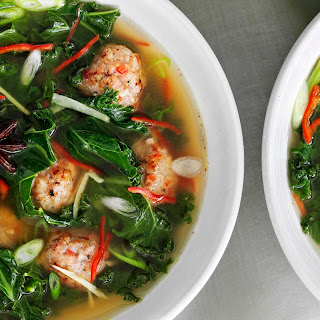 Asian Broth With Meatballs And Winter Greens