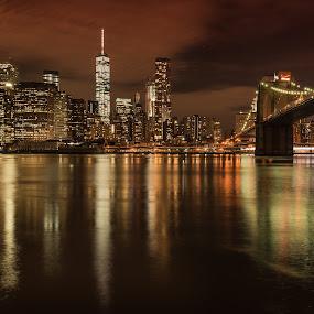 Brooklyn Bridge by Ferruccio Galbiati - City,  Street & Park  Night ( brooklyn bridge, skyline, night photography, new york city, landscape, travel photography, nightscape )
