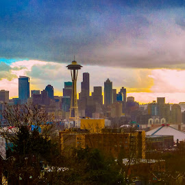 Afternoon Seattle Sun by Steven McCarthy - City,  Street & Park  Skylines ( queen anne, skyline, space needle, seattle, kerry park )