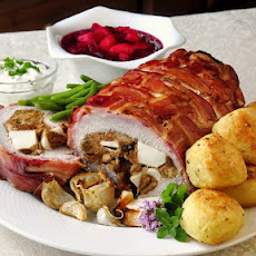 Apple Almond Stuffed Pork Loin in a Bacon Blanket
