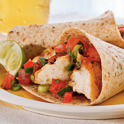 Grilled Fish Tacos with Tomato-Green Onion Relish