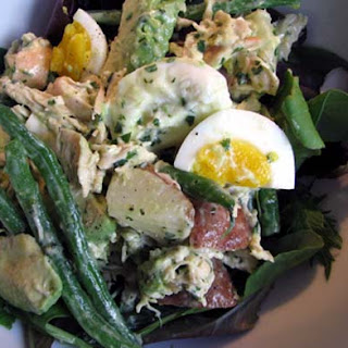 Potato, Chicken, Green Bean, Egg, and Avocado Salad in an Herb Mayonnaise