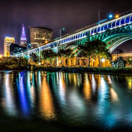 Cleveland Skyline by Jeff Rzepka - City,  Street & Park  Skylines ( skyline, ohio, veterans memorial bridge, cuyahoga river, terminal tower, detroit superior bridge, cleveland skyline, bridge, river, cleveland )