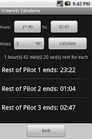 Screenshot of Aviation Crewrest Calculator