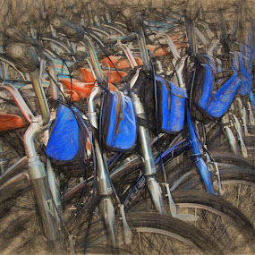 Bike Rentals by Dennis Granzow - Digital Art Things ( bikes, digital art, digital drawing, traditional art, drawing )