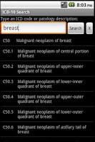 Screenshot of ICD-10 Search