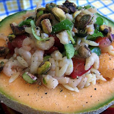 Shrimp in Cantaloupe With Orzo Pasta