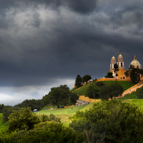 church at Cholula by Cristobal Garciaferro Rubio - City,  Street & Park  Vistas ( clouds, cholula, church, mexico, puebla, storm )