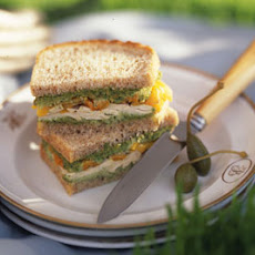 Chicken and Roasted Pepper Sandwiches with Cilantro Almond Relish
