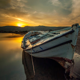 by Enver Karanfil - Transportation Boats ( sunset, sea, boat )