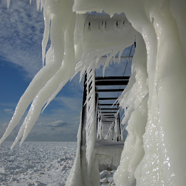 Catwalk Ice Sculpture by Carol Cooper - Buildings & Architecture Other Exteriors ( catwalk, winter, ice, lighthouse )