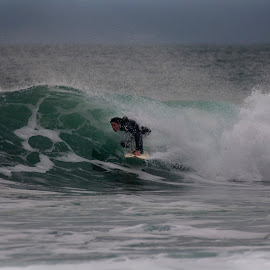 getting low by John Richards - Sports & Fitness Surfing ( porthleven, surfing, low, pipe )