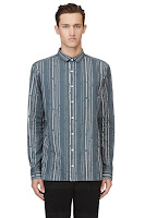 Kolor Teal Decorative Stripe Shirt