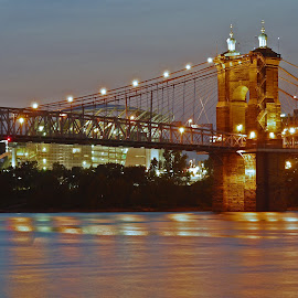 Roebling Bridge by Becky Kempf - Buildings & Architecture Bridges & Suspended Structures ( twilight, roebling bridge, ohio river, cincinnati, bridge,  )