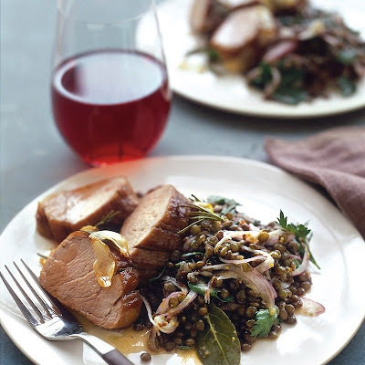 Roasted Pork Tenderloin with Lentil Salad