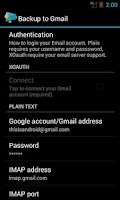 Screenshot of Backup message & call to Email