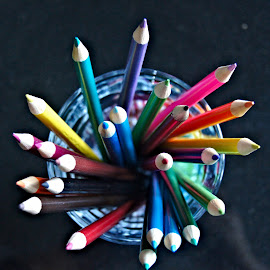Crayons by Anita Berghoef - Artistic Objects Still Life ( abstract, crayon, red, purple, blue, color, green, colors, pink, yellow, crayons )