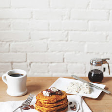 Pumpkin Pancakes with Maple Pecan Compound Butter