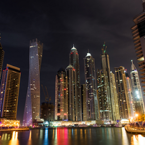Dubai Marina by Aamir Munir - City,  Street & Park  Skylines ( night photography, dubai, buildings, lake, dubai marina, marina, city, night )