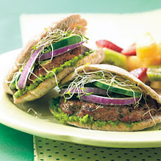 Mini Lamb Pitas with Minted Pea Hummus